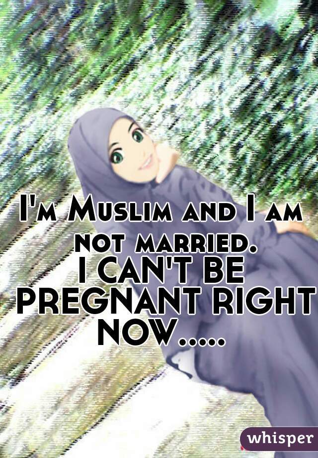 I'm Muslim and I am not married. I CAN'T BE PREGNANT RIGHT NOW.....