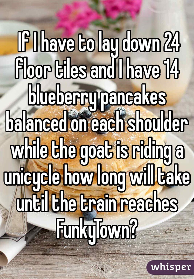 If I have to lay down 24 floor tiles and I have 14 blueberry pancakes balanced on each shoulder while the goat is riding a unicycle how long will take until the train reaches FunkyTown?