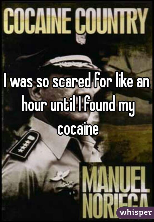 I was so scared for like an hour until I found my cocaine
