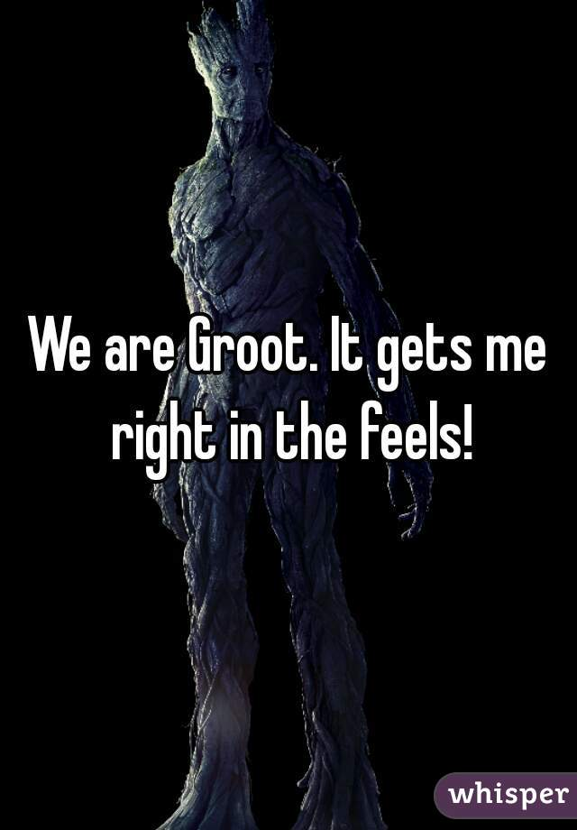 We are Groot. It gets me right in the feels!