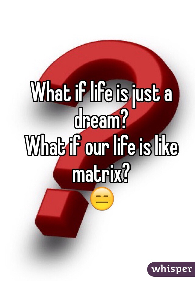 What if life is just a dream? What if our life is like matrix? 😑