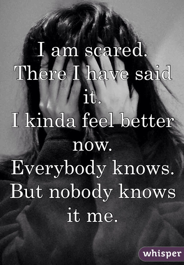 I am scared. There I have said it. I kinda feel better now. Everybody knows. But nobody knows it me.