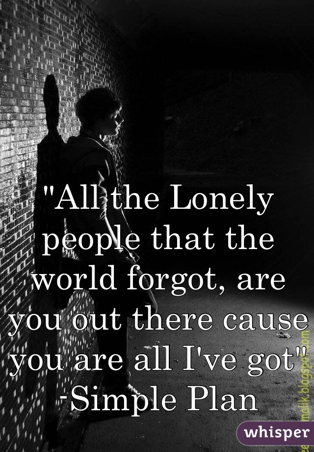 """All the Lonely people that the world forgot, are you out there cause you are all I've got"" -Simple Plan"