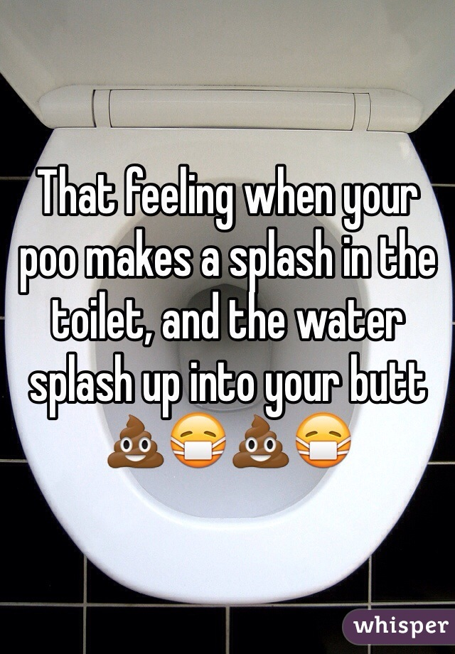 That feeling when your poo makes a splash in the toilet, and the water splash up into your butt 💩😷💩😷