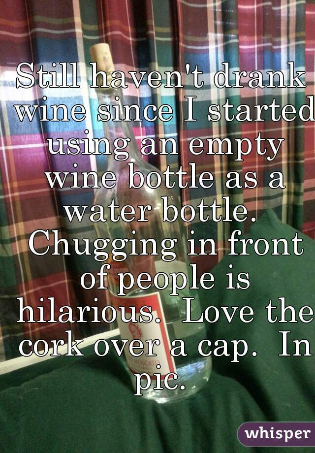 Still haven't drank wine since I started using an empty wine bottle as a water bottle.  Chugging in front of people is hilarious.  Love the cork over a cap.  In pic.