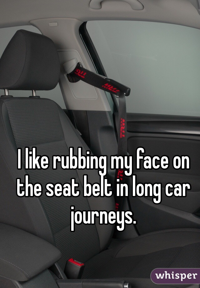 I like rubbing my face on the seat belt in long car journeys.