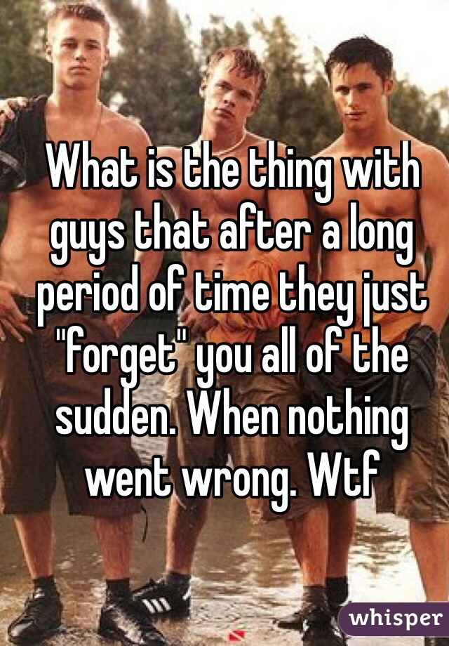 """What is the thing with guys that after a long period of time they just """"forget"""" you all of the sudden. When nothing went wrong. Wtf"""