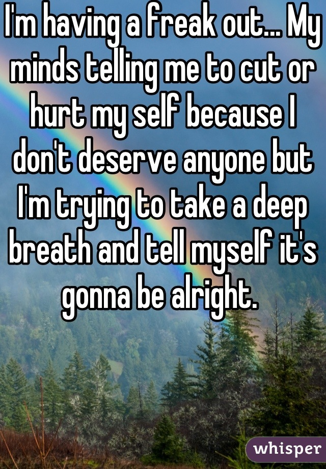 I'm having a freak out... My minds telling me to cut or hurt my self because I don't deserve anyone but I'm trying to take a deep breath and tell myself it's gonna be alright.
