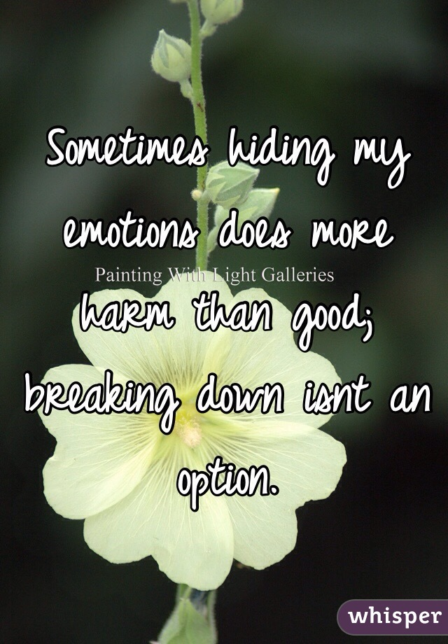Sometimes hiding my emotions does more harm than good; breaking down isnt an option.