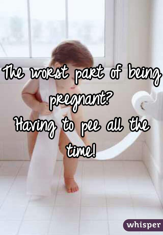 The worst part of being pregnant?  Having to pee all the time!