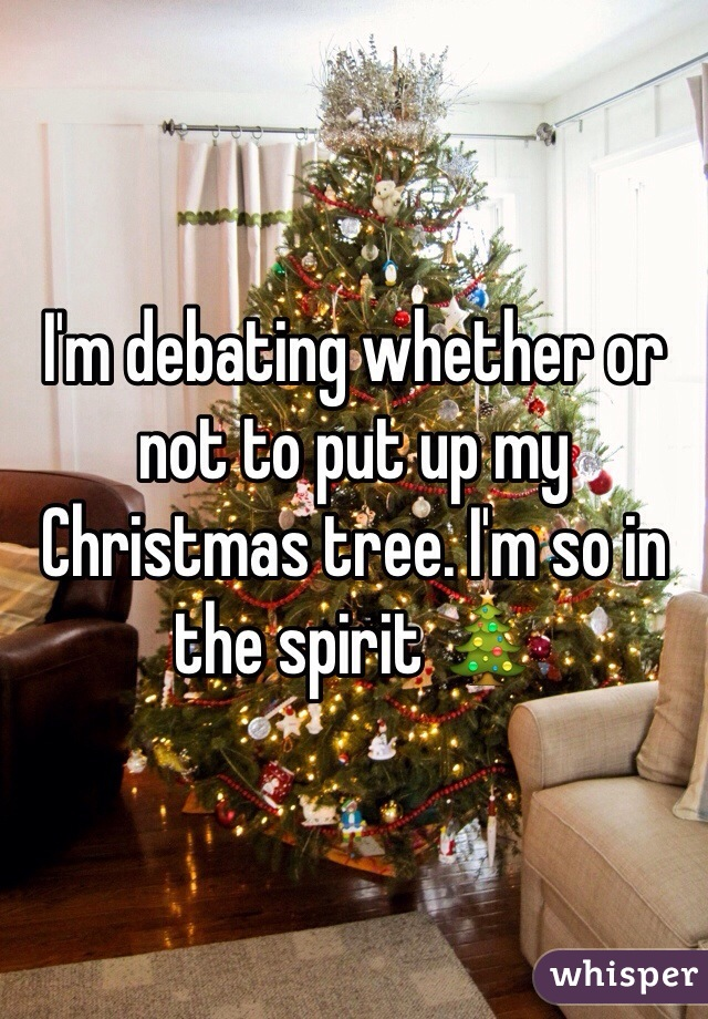 I'm debating whether or not to put up my Christmas tree. I'm so in the spirit 🎄