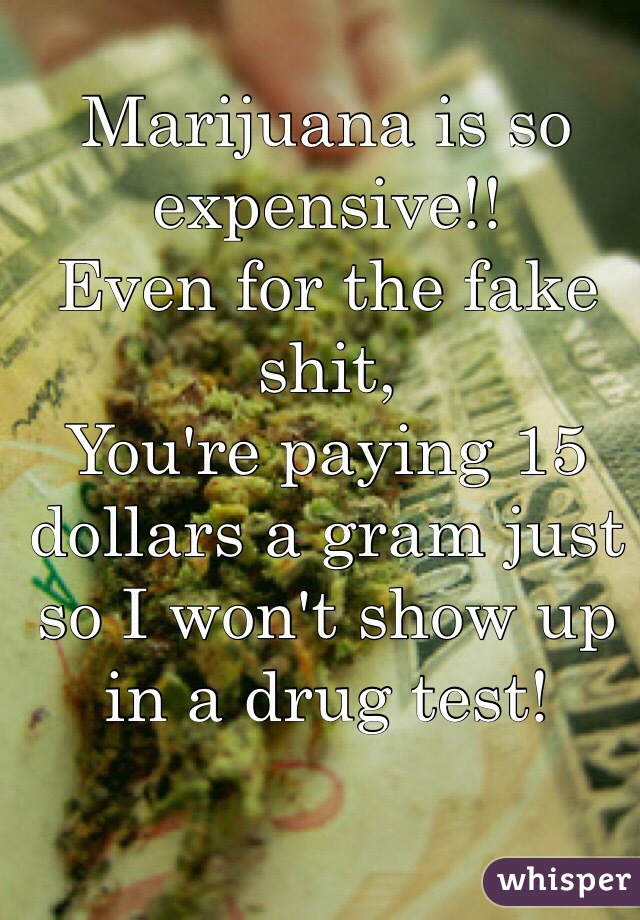 Marijuana is so expensive!! Even for the fake shit, You're paying 15 dollars a gram just so I won't show up in a drug test!