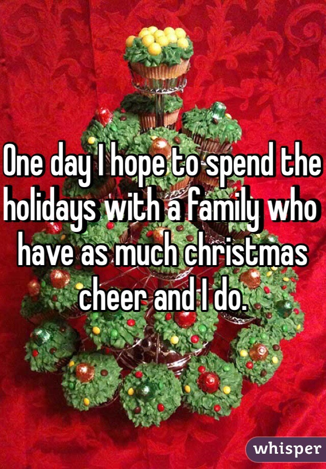 One day I hope to spend the holidays with a family who have as much christmas cheer and I do.