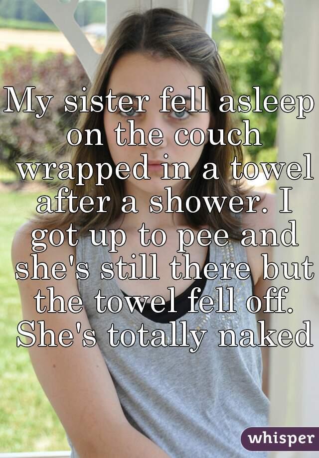 sis in towel naked