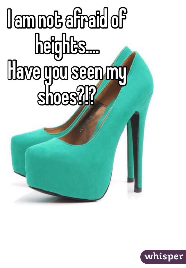 I am not afraid of heights.... Have you seen my shoes?!?