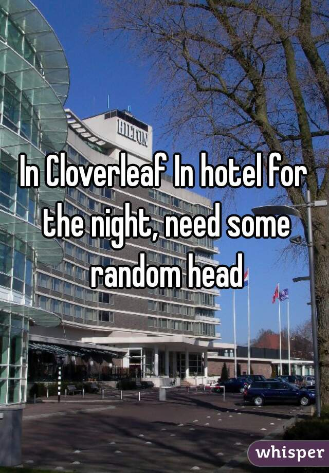 In Cloverleaf In hotel for the night, need some random head