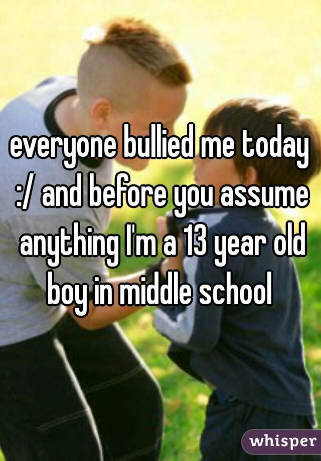 everyone bullied me today :/ and before you assume anything I'm a 13 year old boy in middle school