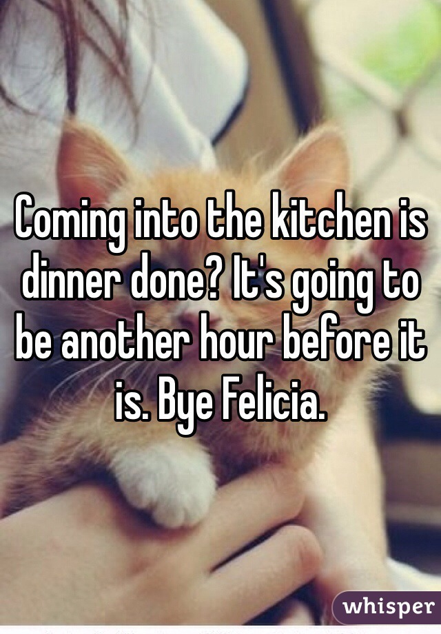 Coming into the kitchen is dinner done? It's going to be another hour before it is. Bye Felicia.