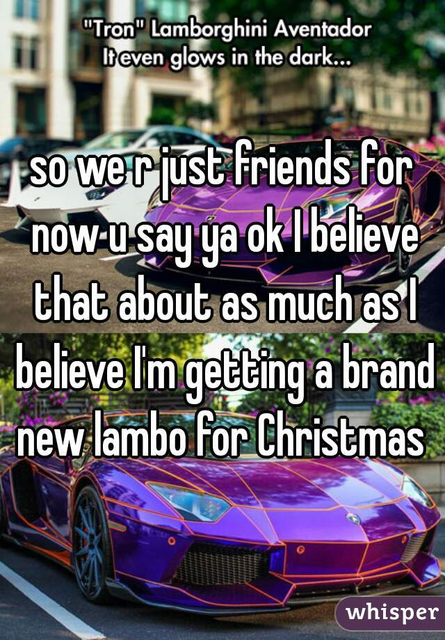 so we r just friends for now u say ya ok I believe that about as much as I believe I'm getting a brand new lambo for Christmas