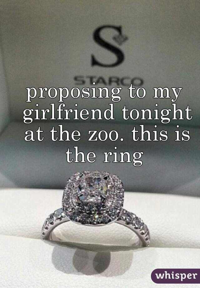 proposing to my girlfriend tonight at the zoo. this is the ring