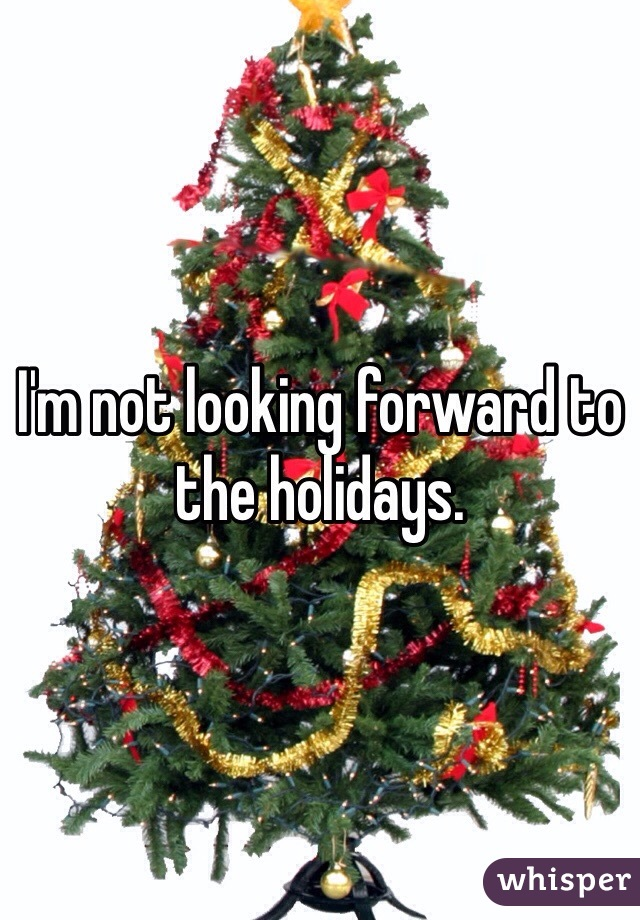 I'm not looking forward to the holidays.