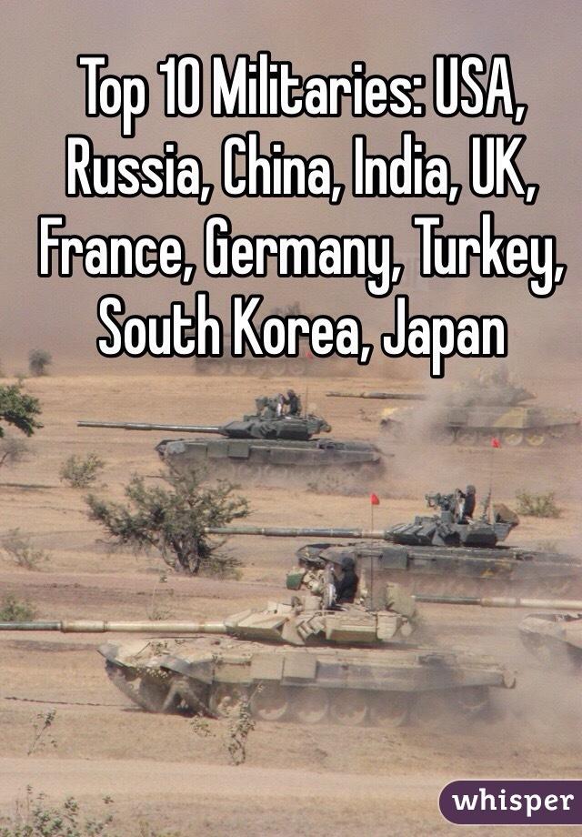 Top 10 Militaries: USA, Russia, China, India, UK, France, Germany, Turkey, South Korea, Japan