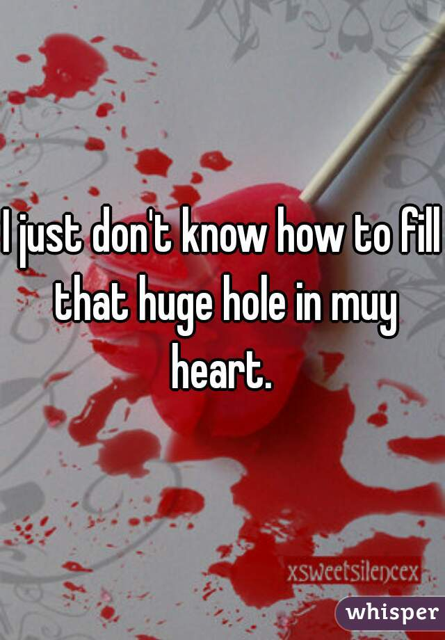 I just don't know how to fill that huge hole in muy heart.