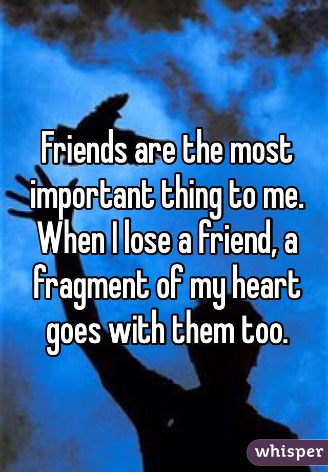 Friends are the most important thing to me. When I lose a friend, a fragment of my heart goes with them too.