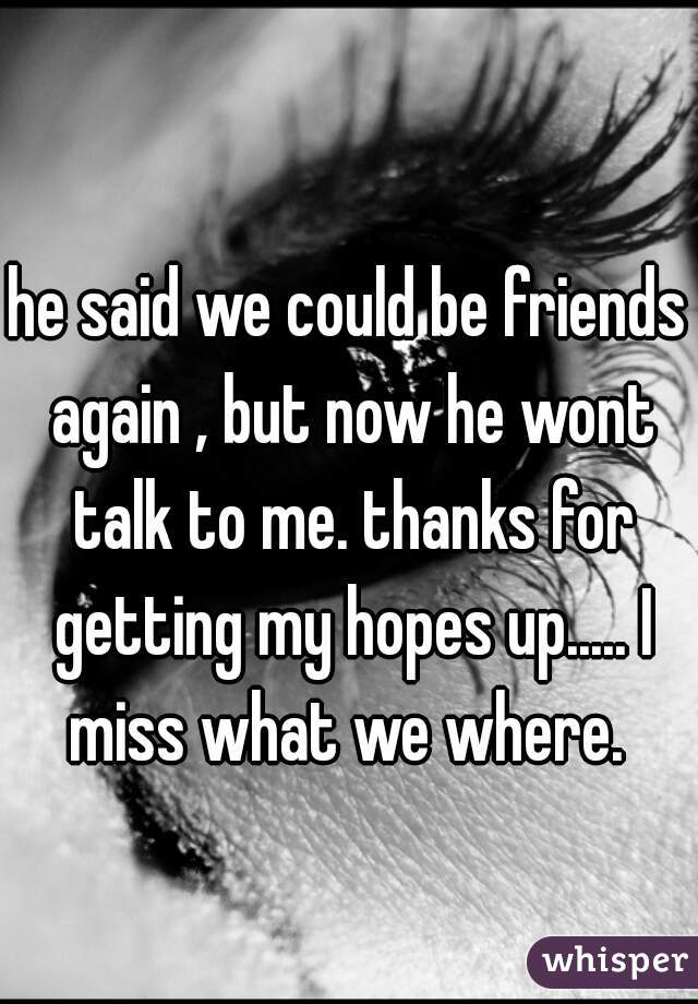he said we could be friends again , but now he wont talk to me. thanks for getting my hopes up..... I miss what we where.