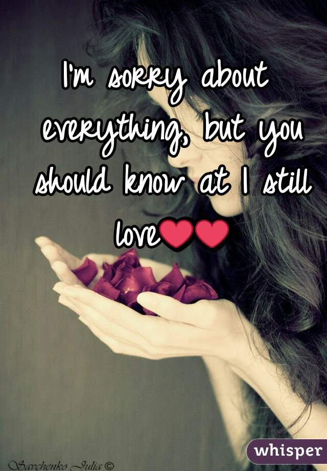 I'm sorry about everything, but you should know at I still love❤❤