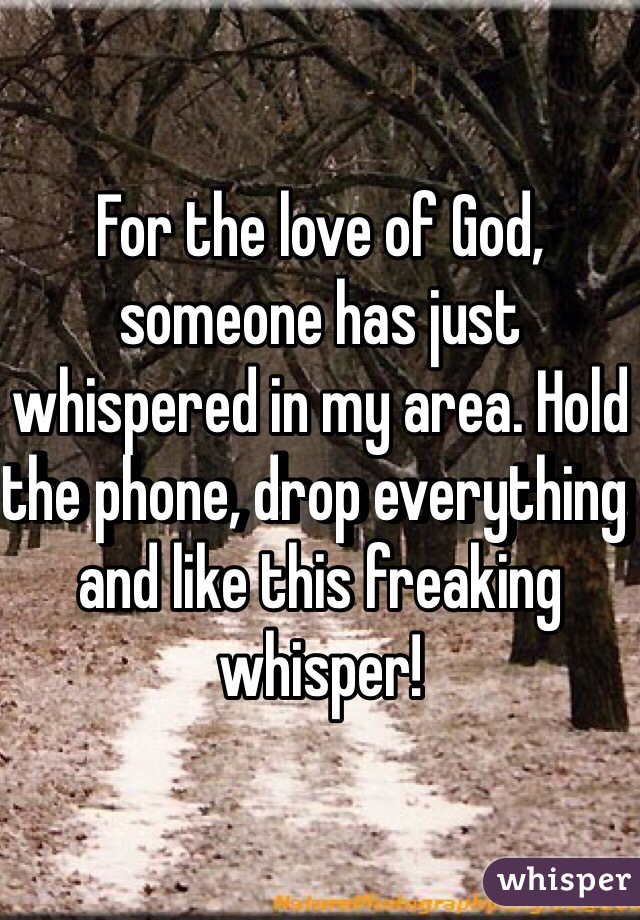For the love of God, someone has just whispered in my area. Hold the phone, drop everything and like this freaking whisper!