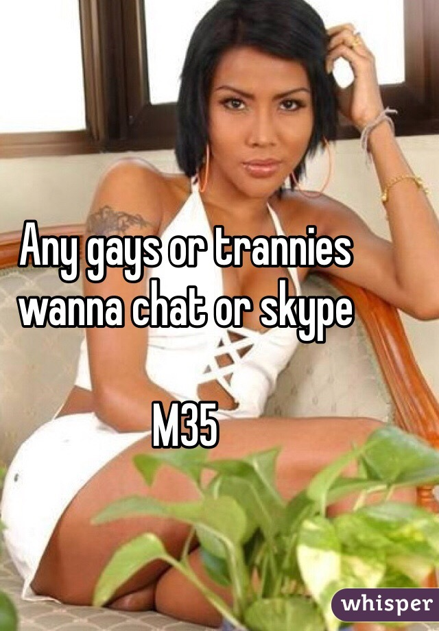Any gays or trannies wanna chat or skype  M35