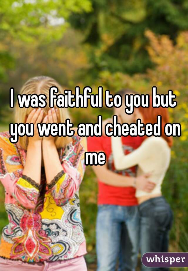 I was faithful to you but you went and cheated on me