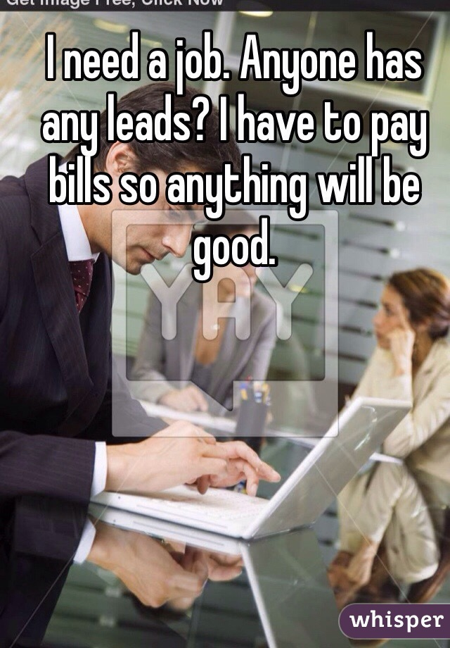 I need a job. Anyone has any leads? I have to pay bills so anything will be good.
