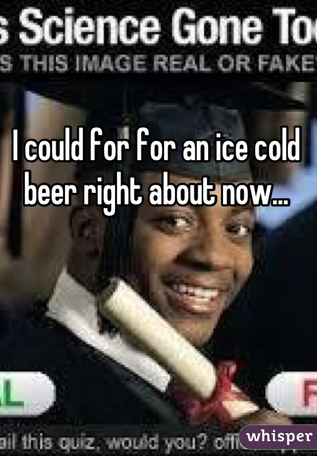 I could for for an ice cold beer right about now...