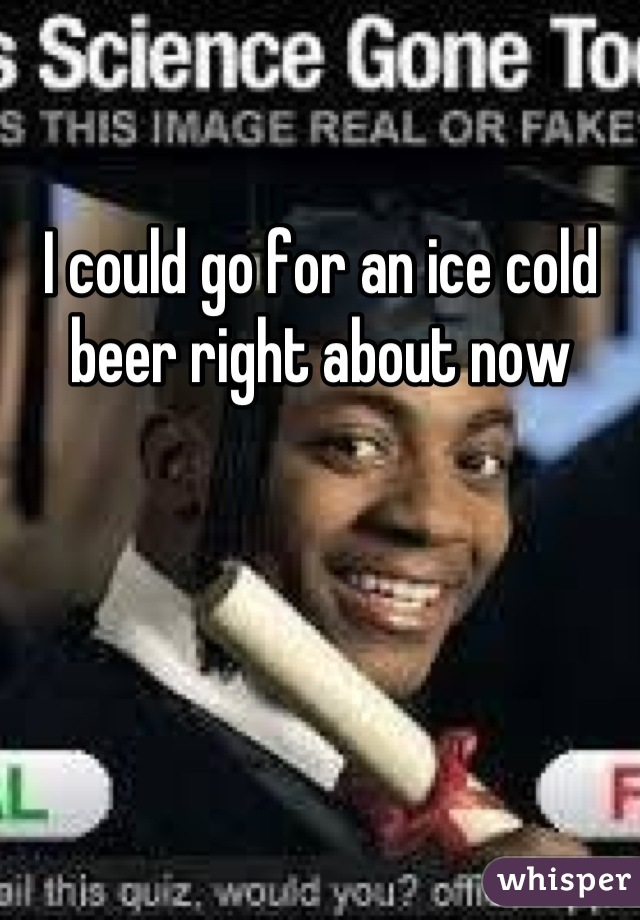 I could go for an ice cold beer right about now