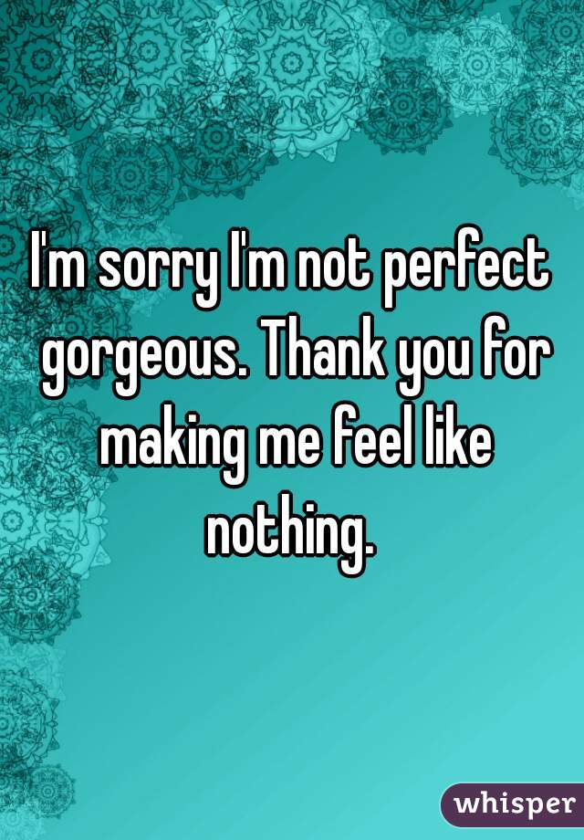I'm sorry I'm not perfect gorgeous. Thank you for making me feel like nothing.