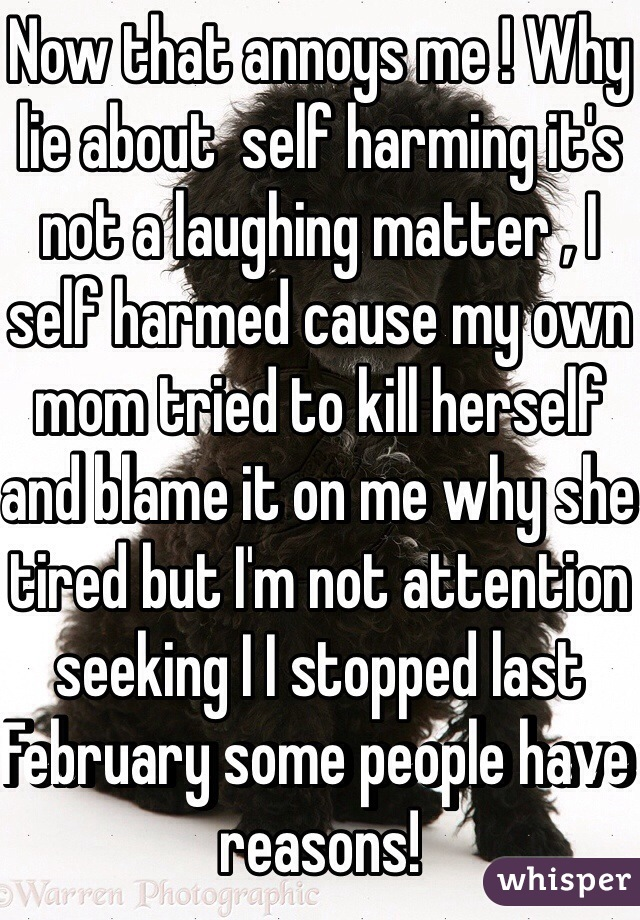 Now that annoys me ! Why lie about self harming its not a