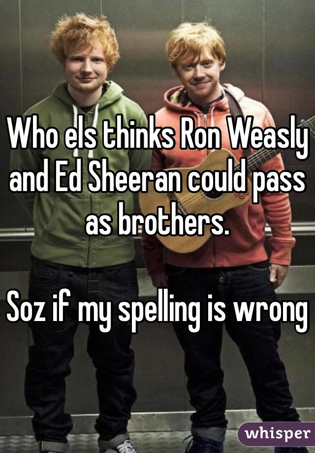 Who els thinks Ron Weasly and Ed Sheeran could pass as brothers.   Soz if my spelling is wrong