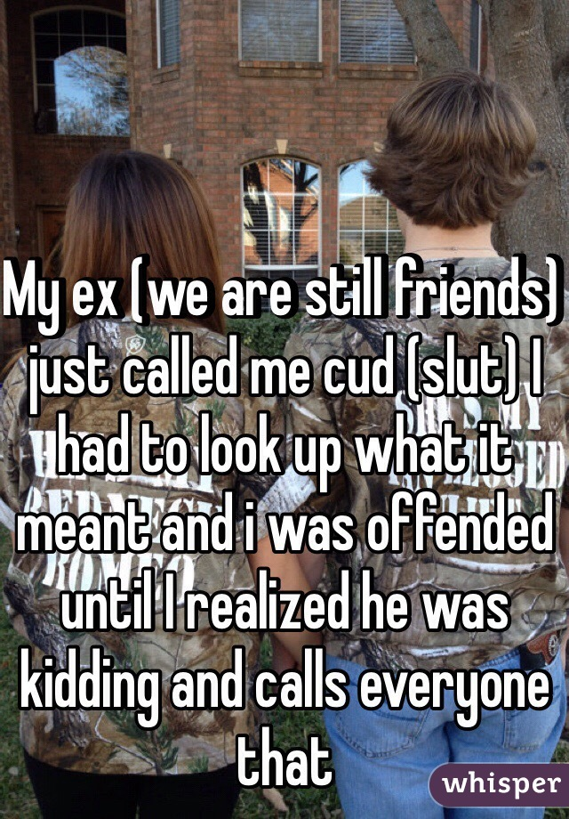 My ex (we are still friends) just called me cud (slut) I had to look up what it meant and i was offended until I realized he was kidding and calls everyone that
