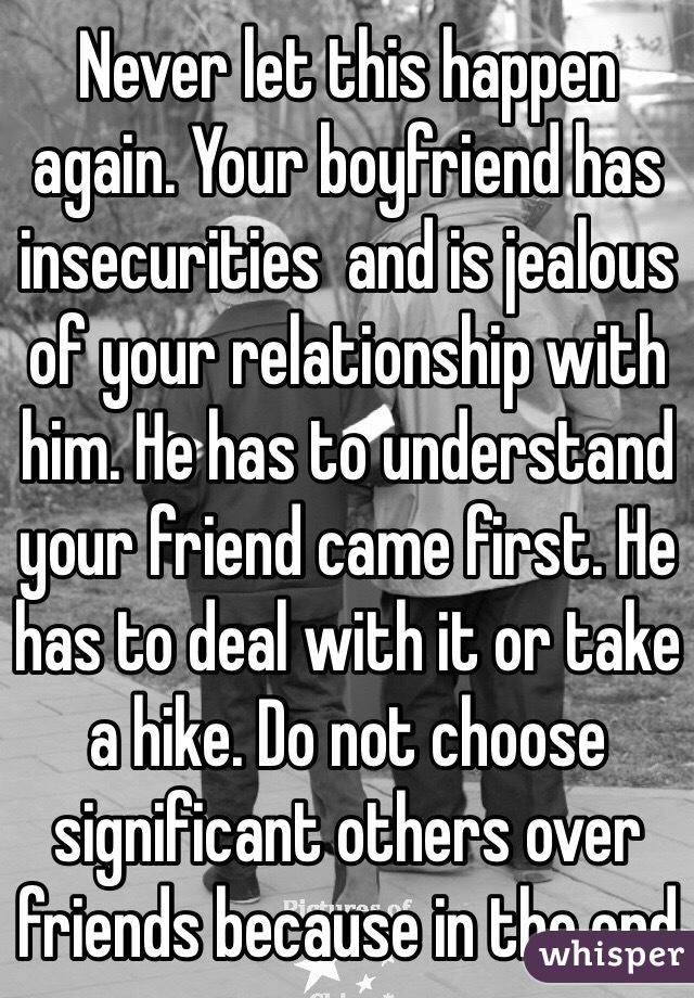 Dealing with a jealous boyfriend
