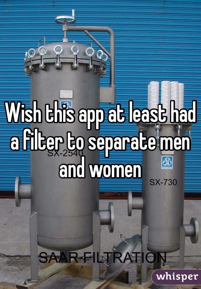 Wish this app at least had a filter to separate men and women