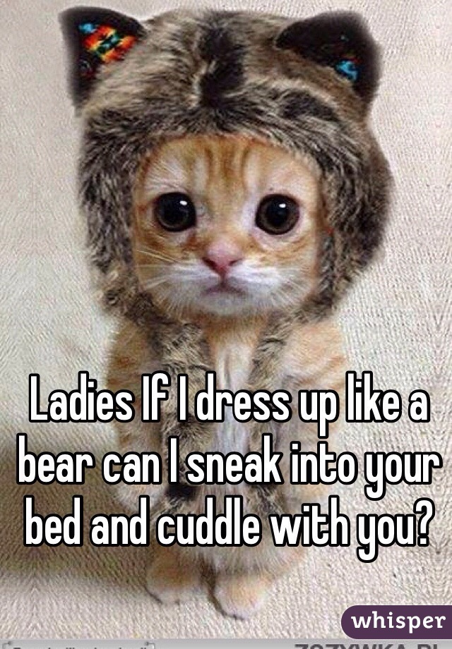 Ladies If I dress up like a bear can I sneak into your bed and cuddle with you?