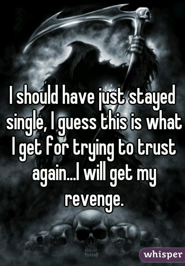 I should have just stayed single, I guess this is what I get for trying to trust again...I will get my revenge.