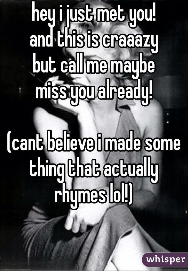 i miss you rhymes