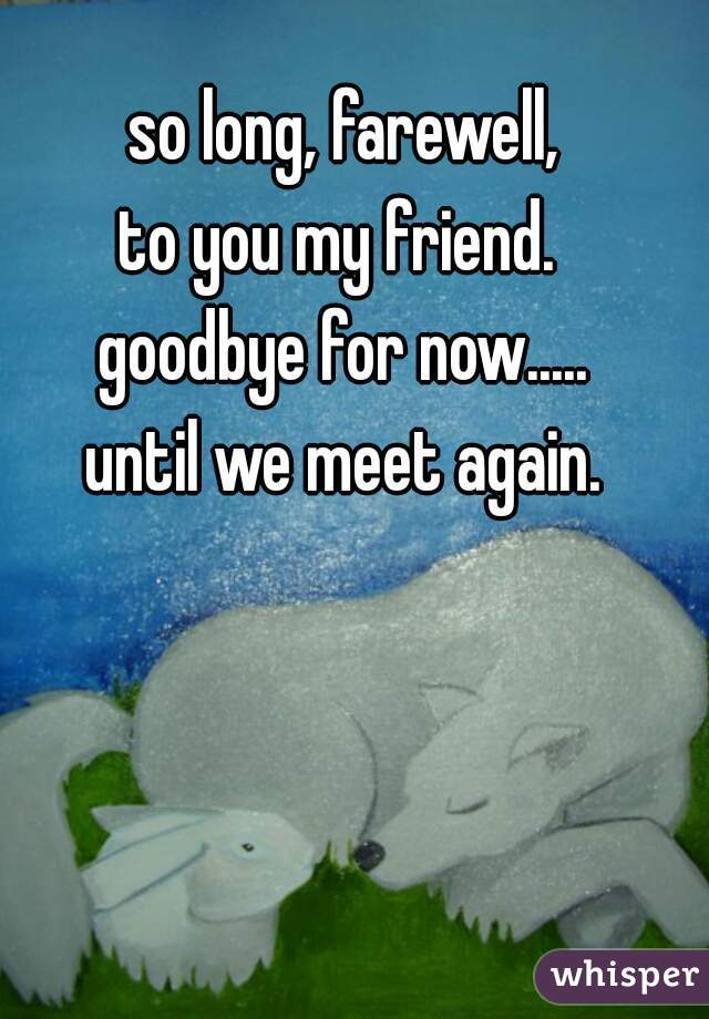 so long farewell to you my friend goodbye for now until we meet again
