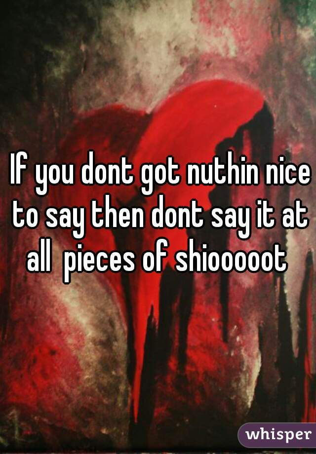 If you dont got nuthin nice to say then dont say it at all  pieces of shiooooot