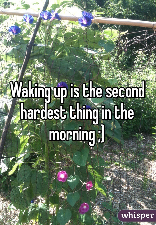 Waking up is the second hardest thing in the morning ;)