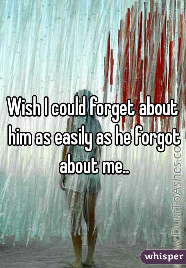 Wish I could forget about him as easily as he forgot about me..