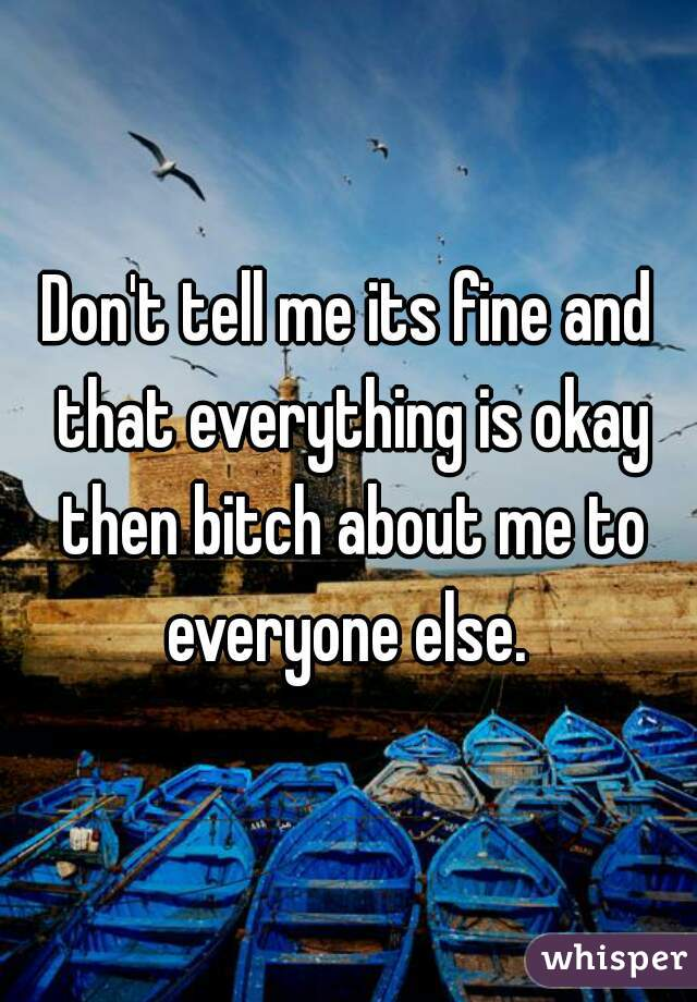 Don't tell me its fine and that everything is okay then bitch about me to everyone else.
